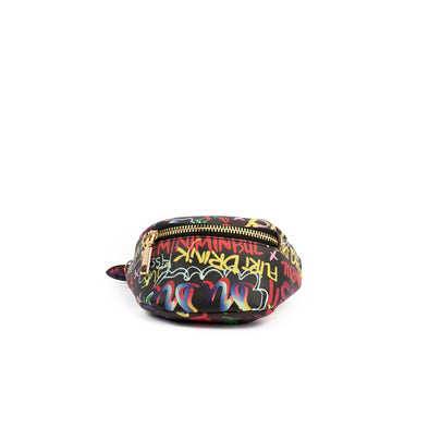 Black Graffiti Mini Wrist Bag