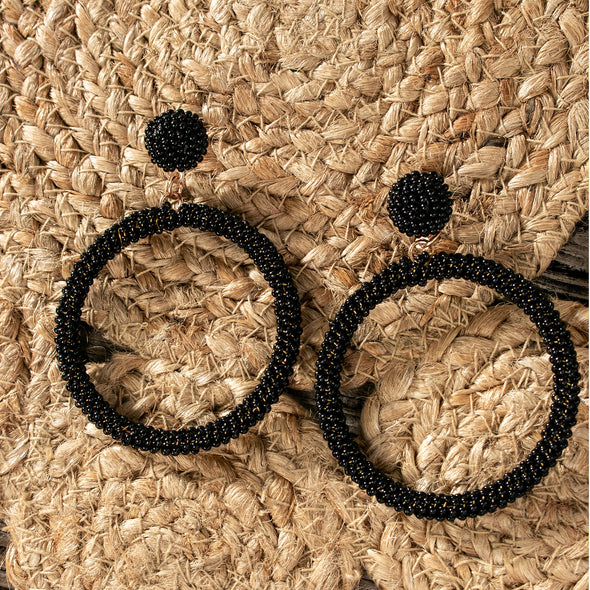 Swara Beaded Hoops Earrings