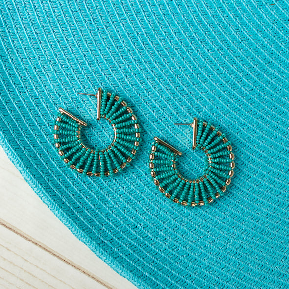 Safiya Beaded Hoops Earrings