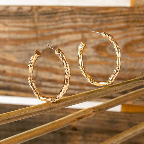 Lily Oval Shape Bamboo Brass Hoop Earrings