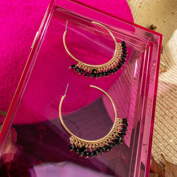 Perla Crystal Beads Hoop Earrings