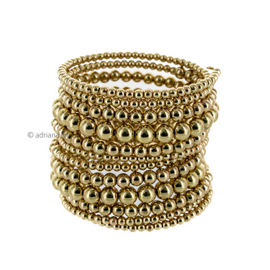 Gold Bead Coil Wrap Bangle Bracelet