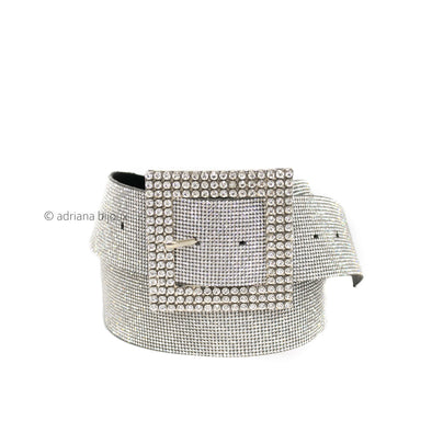 Rhinestone Square Buckle Bling Belt