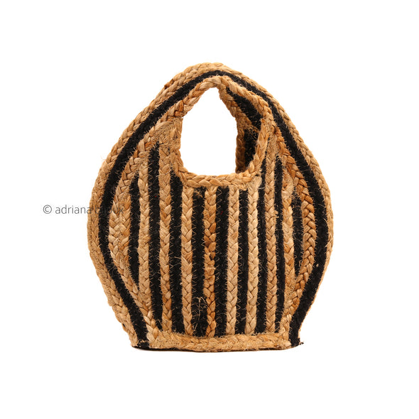 Striped Woven Straw Jute Tote Bag