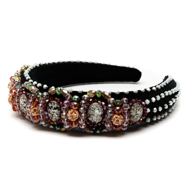 Velvet Padded Rhinestone Crystal Beaded Headband