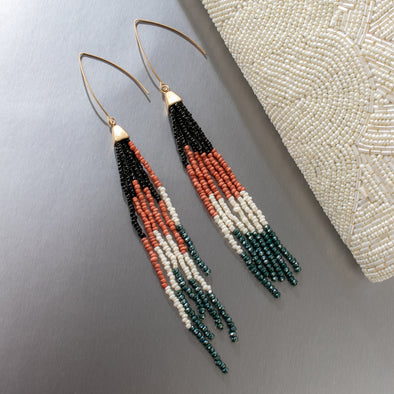 Nora Long Multi Color Beaded Earrings