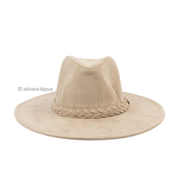 Suede Braided Detail Panama Hat