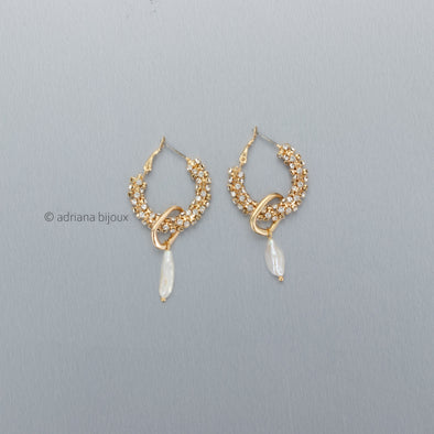 Rhinestone Pearl Double Loop Earrings