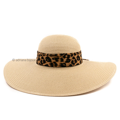 Floppy Leopard Straw Hat