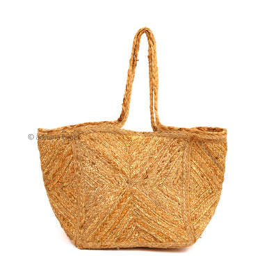 Golden Stripes Jute Beach Bag