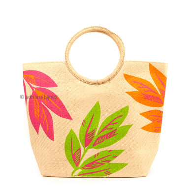 Tropical Straw Tote Bag