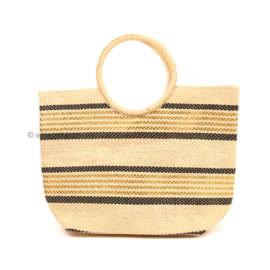 Black and Gold Stripe Straw Tote Bag