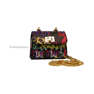 Black Graffiti Mini Bag