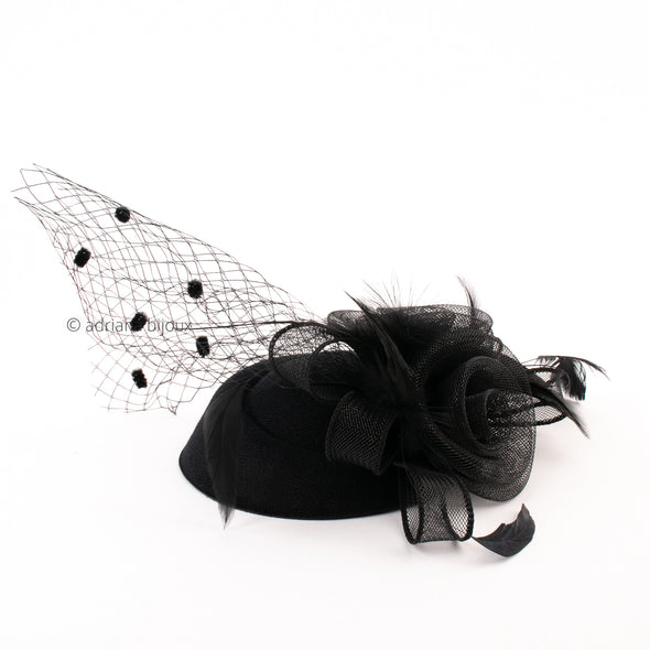 Floral Feather Mesh Derby Headpiece