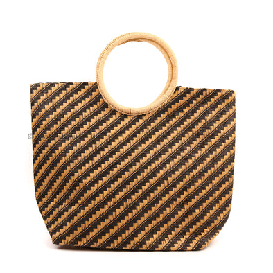 Diagonal Stripes Straw Tote Bag