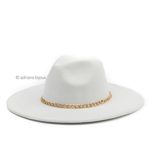 Narrow Gold Chain Wide Brimmed Felt Hat