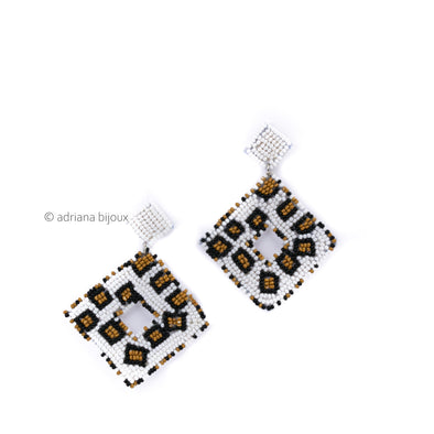 Geometric Tribal Beaded Earrings