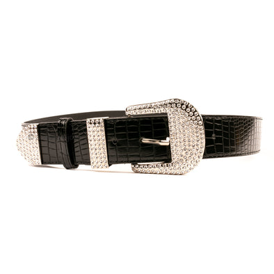 Plus Size Rhinestone Buckle Croc Belt
