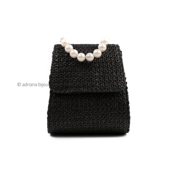 Small Straw Bag with Pearl Handle
