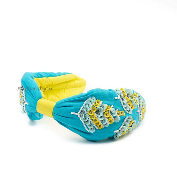 Blue and Yellow Beaded Headband