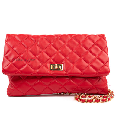 Vegan Leather Quilted Clutch