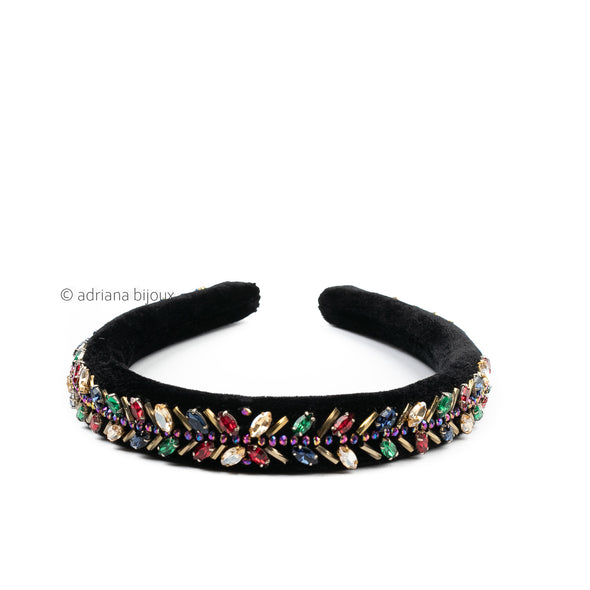 Beaded Multi Color Velvet Headband