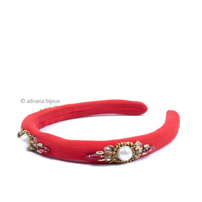 Beaded Red Satin Headband