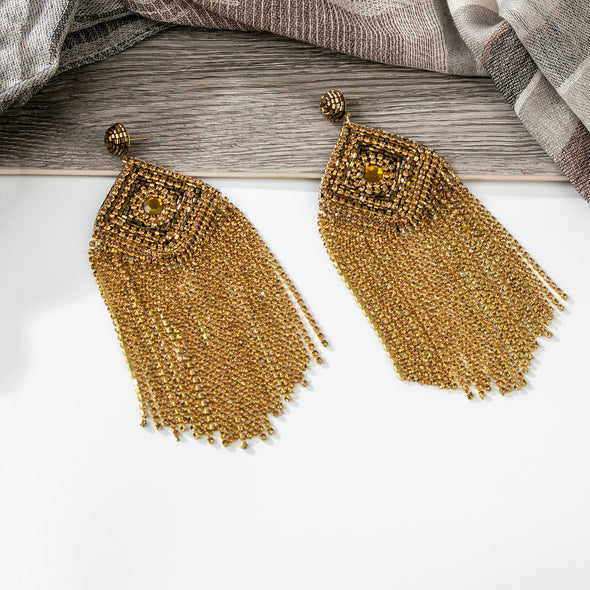 Alma Rhinestones Tassel Earrings