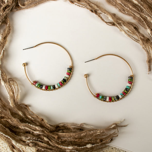 Pilar Natural Stone Hoops Earrings