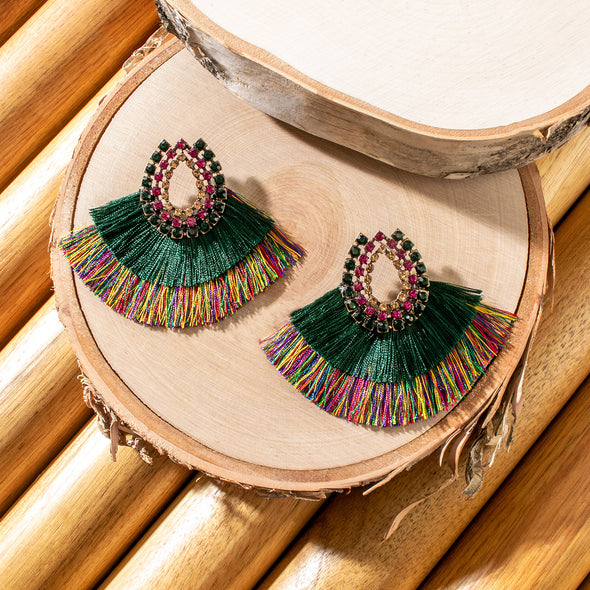 Ariana Colorful Stone and Tassel Earrings