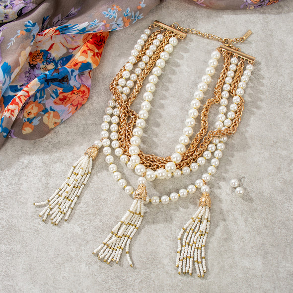 Clarice Pearls Necklace Set