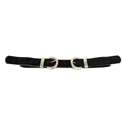Rhinestone Double Buckle Belt