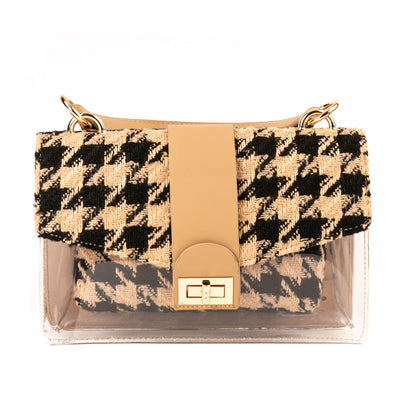 Houndstooth PVC Bag with Removable Pouch