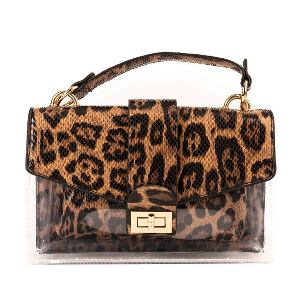 Leopard PVC Bag with Removable Pouch