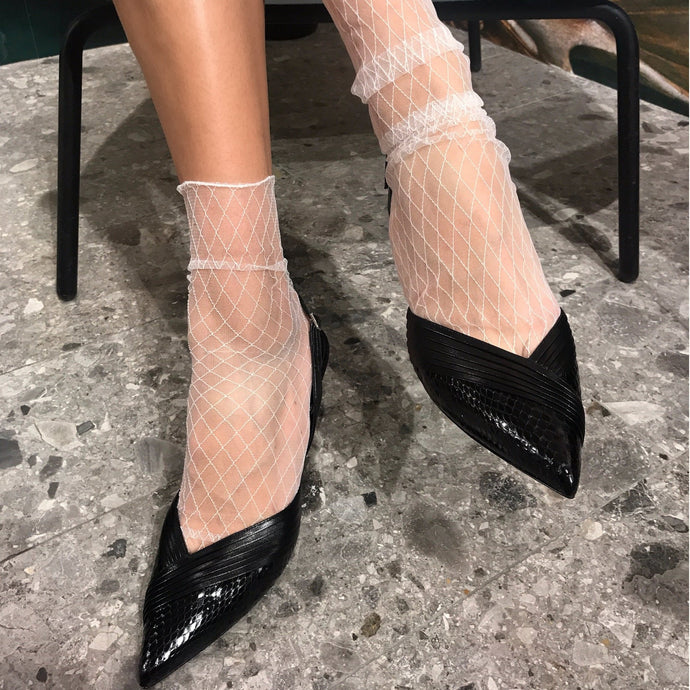 White fishnet flamingo socks