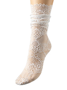 White lace flamingo socks