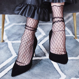 Black fishnet flamingo socks