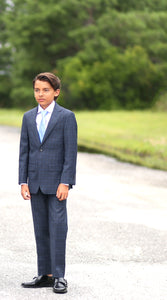 Boys Blue Plaid Suit