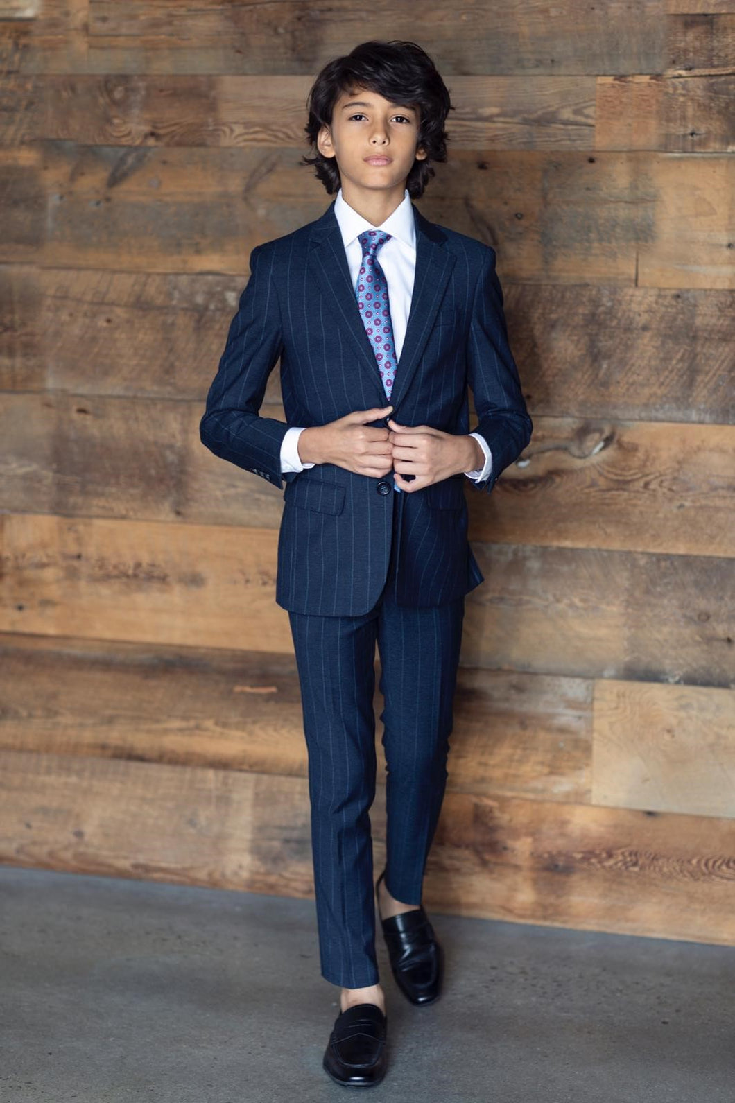 Boys Navy Pinstripe Suit