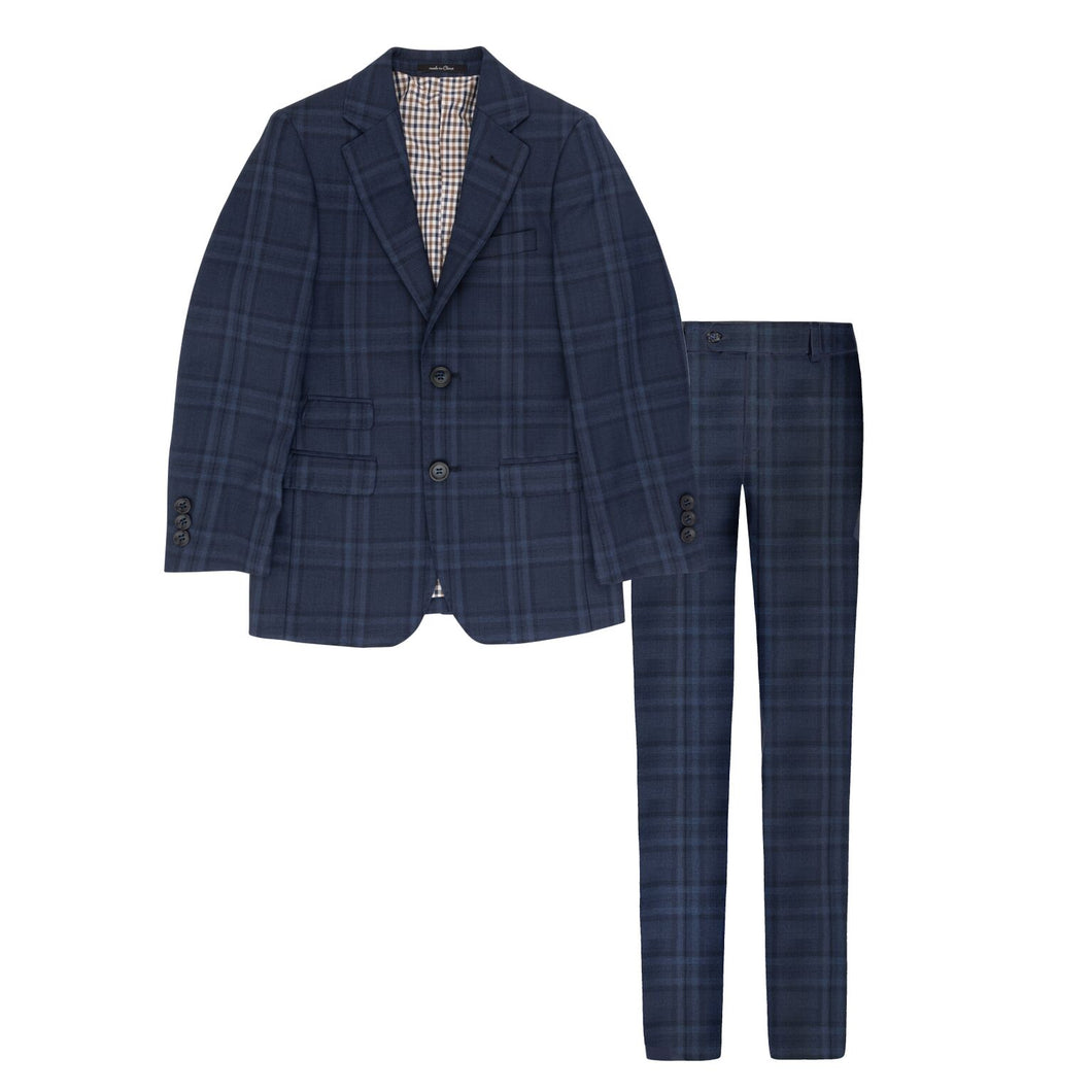 Miles Brown Navy Plaid Suit