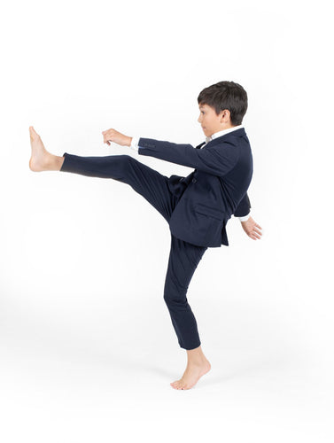 T.O BOYS NAVY STRETCH SUIT