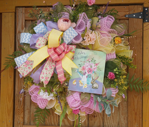 Easter Blessings Spring Deco Mesh Wreath