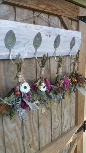Rustic Farmhouse Four silver spoon Wooden herbal drying rack with dried floral bunches