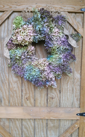 Pastel Dried Hydrangea Wreath: All Natural from Nature