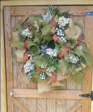 Deluxe Rustic Green, Plaids and Jute Neutral Burlap Wreath