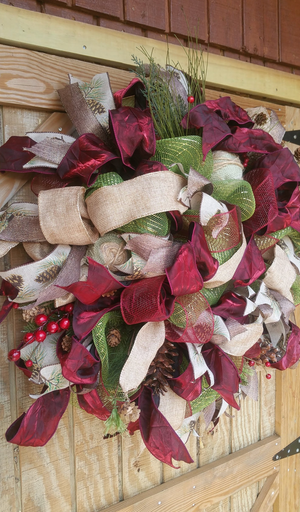 Elegant Ribbon and Deco Mesh Holiday Wreath