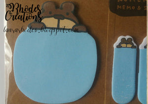 Kohem Memo and Sticky Memo Pad and Sticky Tags* Blue Bear*Korean Stationery Set*One package