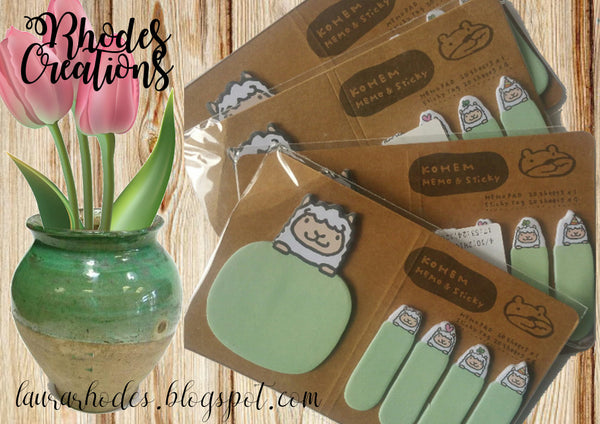 Kohem Memo and Sticky Memo Pad and Sticky Tags* Green Lamb*Korean Stationery Set*One package