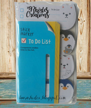 Stick Marker*Polar Animals - To Do List Sticky Message Notes* Korean Stationery*One package