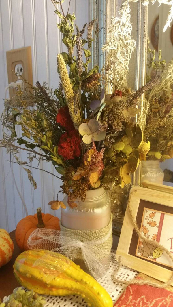 Champagne Satin two tone Mason jar Vase with Vintage Farmhouse Dried Floral Bouquet